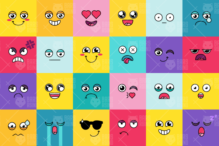 Vector Cartoon Smiles Set