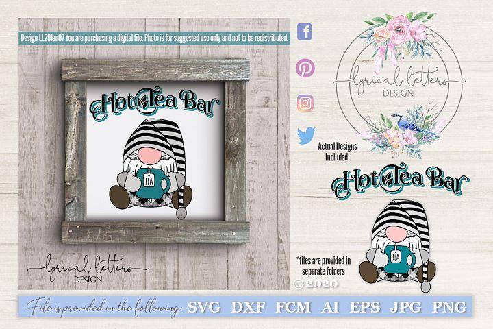 Tea Gnome and Hot Tea Bar SVG Cut File LL20Jan07
