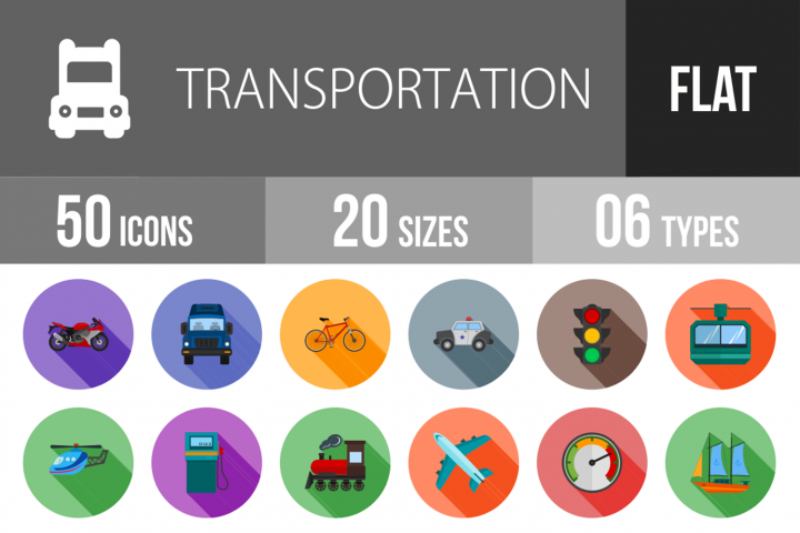 50 Transportation Flat Long Shadow Icons