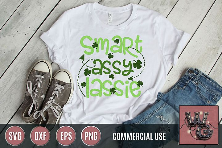 Smart Assy Lassie St. Patricks Day SVG DXF PNG EPS Comm