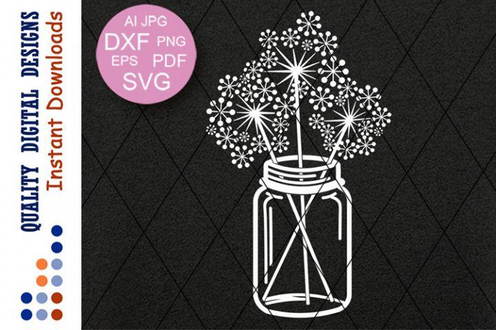 Mason Jar of dandelions clip art Flowers Cut Files Cricut