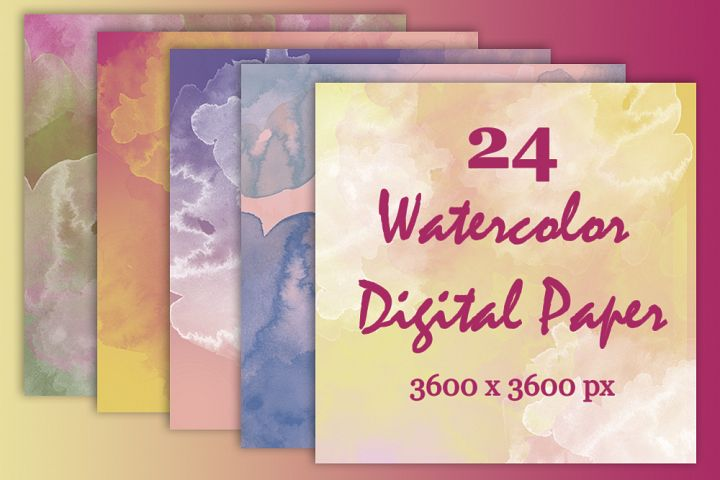 24 Watercolor Digital Paper Textures Background