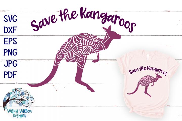 Save the Kangaroos SVG | Kangaroo Mandala SVG Cut File