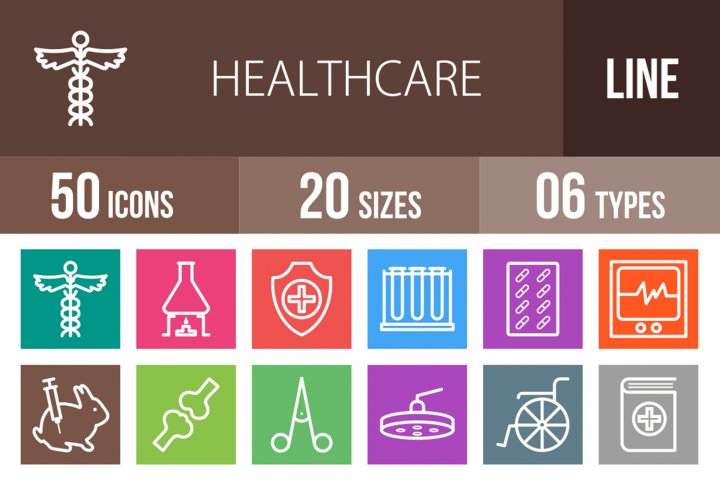 50 Healthcare Line Multicolor B/G Icons
