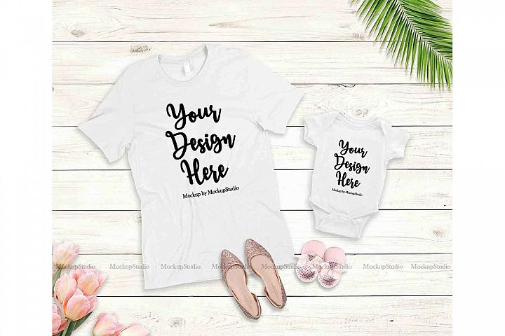 Mother Daughter White T-Shirts Mockup, Baby Onepiece Display