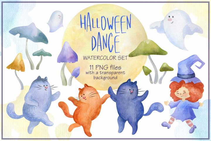 Halloween dance. Watercolor set.
