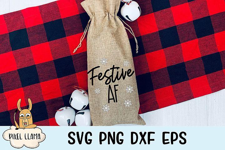 Festive AF Christmas Wine Bag SVG