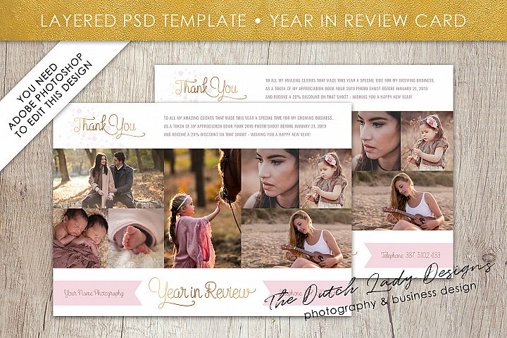 PSD Year In Review Photo Collage Card Template #4