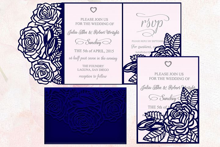 Roses wedding invitation Tri Fold Pocket Envelope set svg