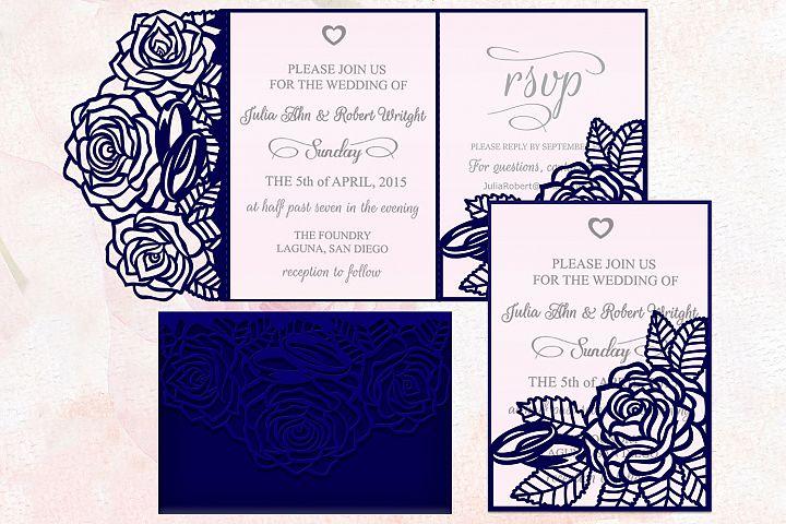 Roses wedding invitation Tri Fold Pocket Envelope set svg