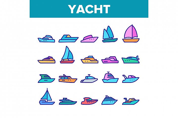 Yacht Marine Transport Collection Icons Set Vector