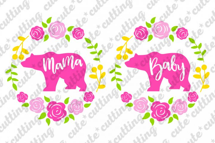 Mama bear, Baby bear with floral wreath svg, png, dxf, jpeg