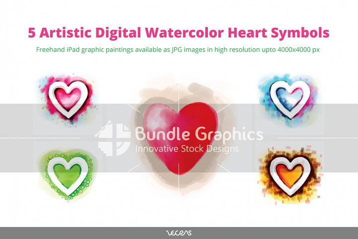 5 Artistic Digital Watercolour Heart Symbols