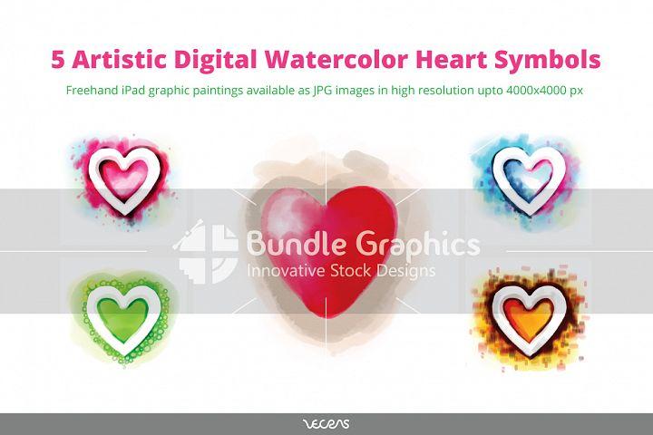 5 Artistic Digital Watercolour Heart Symbols