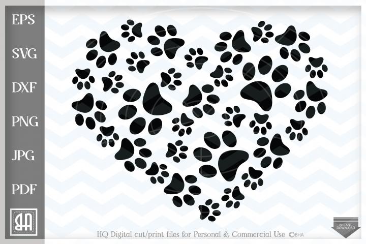Paws Print Heart SVG, Paw Prints SVG, Paw Print , Paw SVG