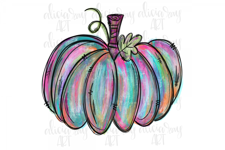 Painted Fall Pumpkin Sublimation PNG Digital Download