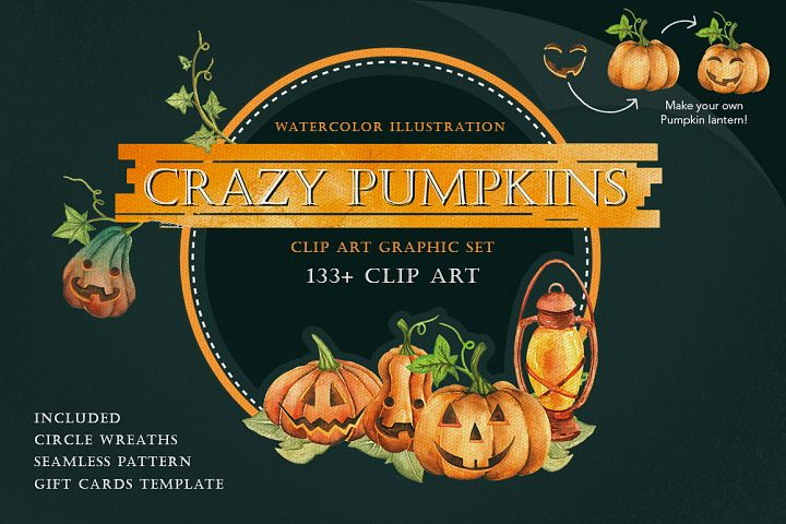CRAZY PUMPKINS Watercolor