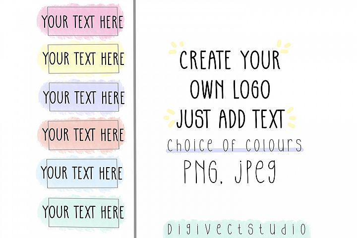 Create your own logo, logo design, pastel logo, watercolour