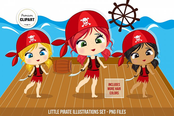 Pirate clipart, Pirate girl illustrations