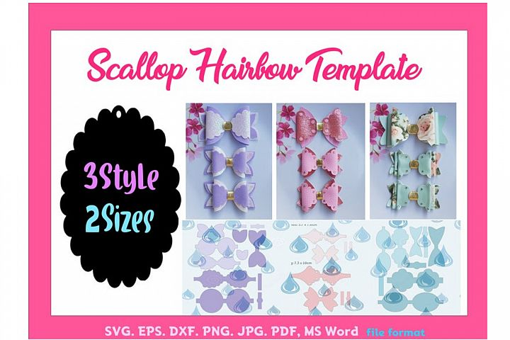 Scallop Hair Bow Template Bundle of 3style 2size SVG