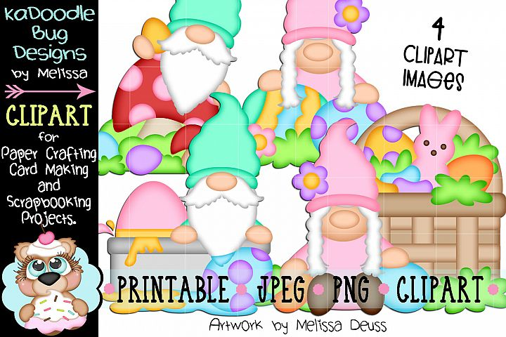 Easter Gnomes Clipart - 4 JPEG PNG Print Then Cut