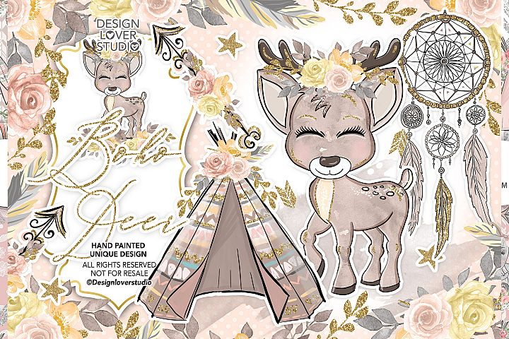 Boho Deer Cute design