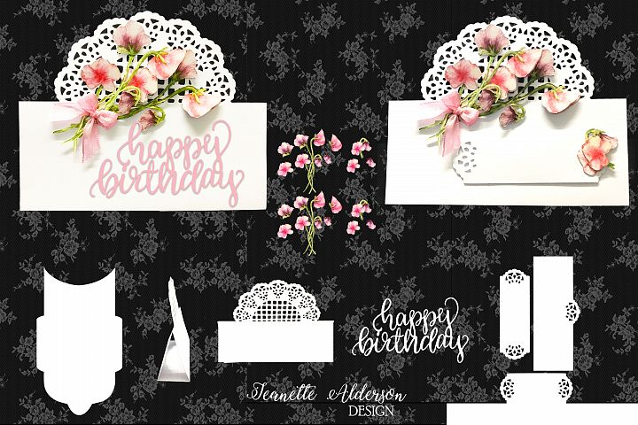 Over The edge card with Trellis and Sweet Pea decoupage