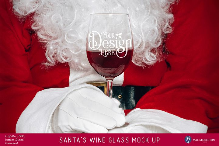 Wine Glass Christmas Mock Up