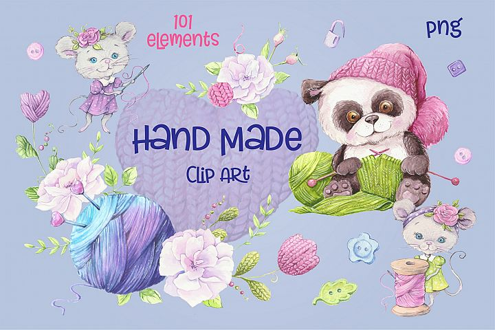 Hand Made watercolor clip art