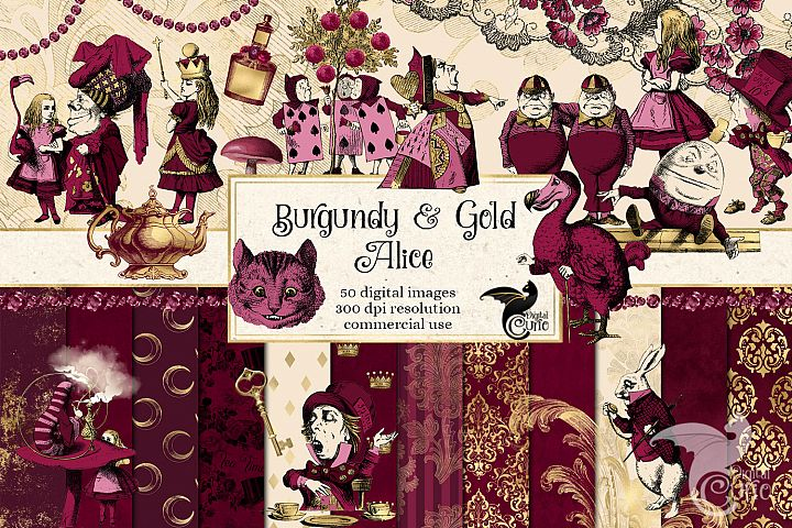Burgundy and Gold Alice in Wonderland Graphics