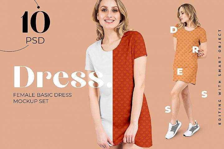 Female Basic Dress Mockup Set for Fabric design presentation