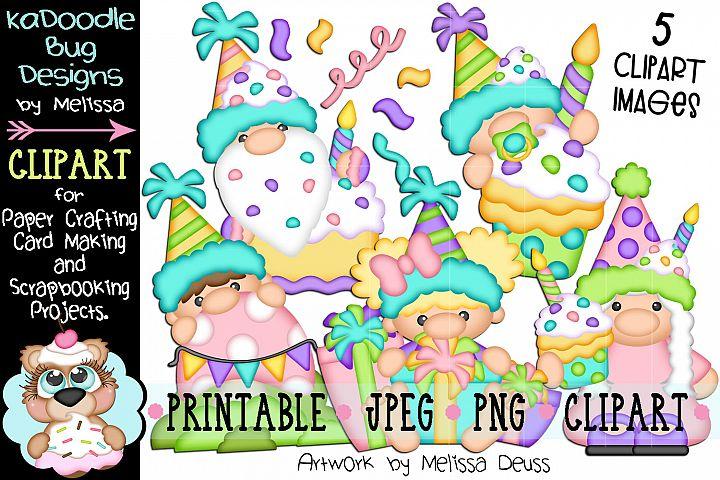 Birthday Gnomes Clipart Bundle - 5 JPEG PNG Print Then Cut