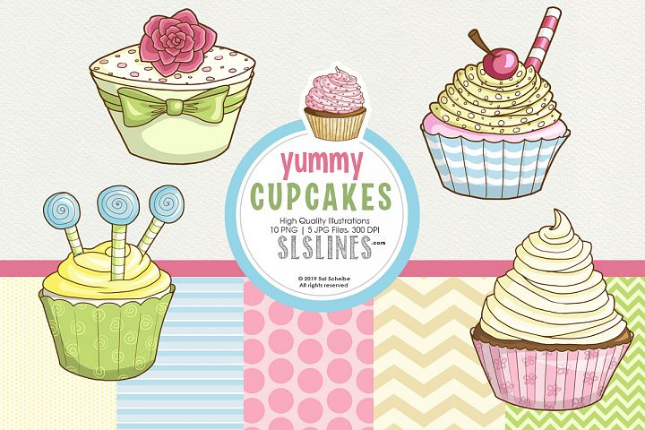 Yummy graphic cupcakes in pastel colors