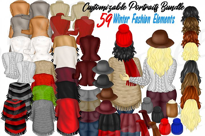 Custom Clipart DIY Customizable Winter Fashion Girl Builder