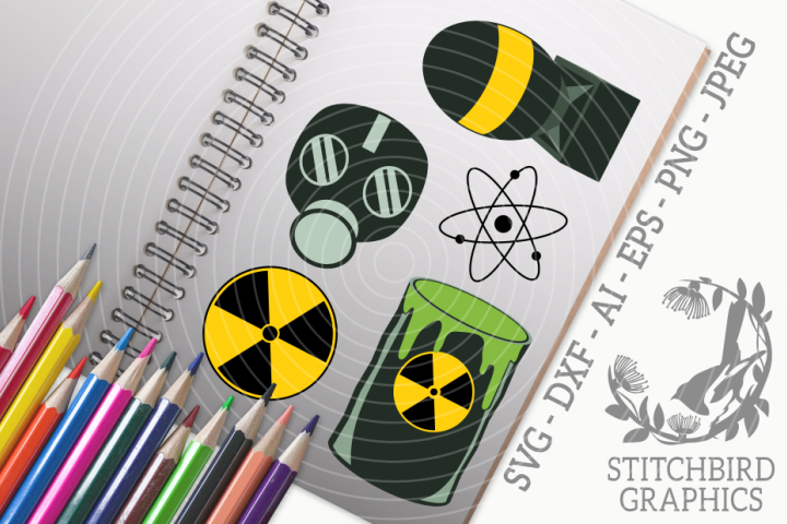 Atomic Nuclear Bundle SVG, Silhouette Studio, Cricut, Eps