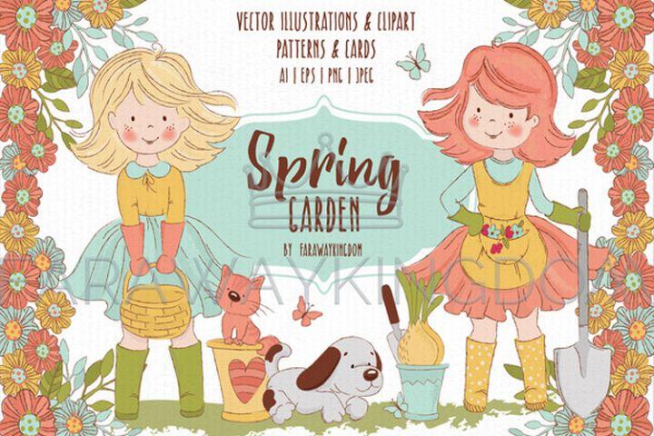 SPRING GARDEN Woman Season Work Vector Illustration Set