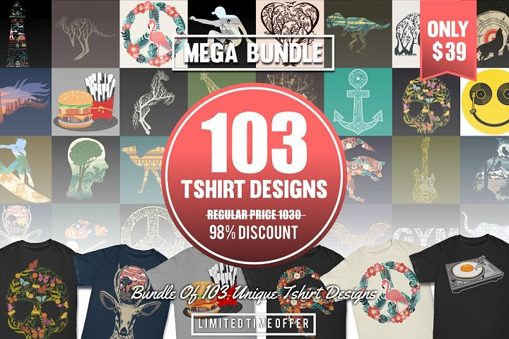 103 Tshirt Designs Mega Bundle