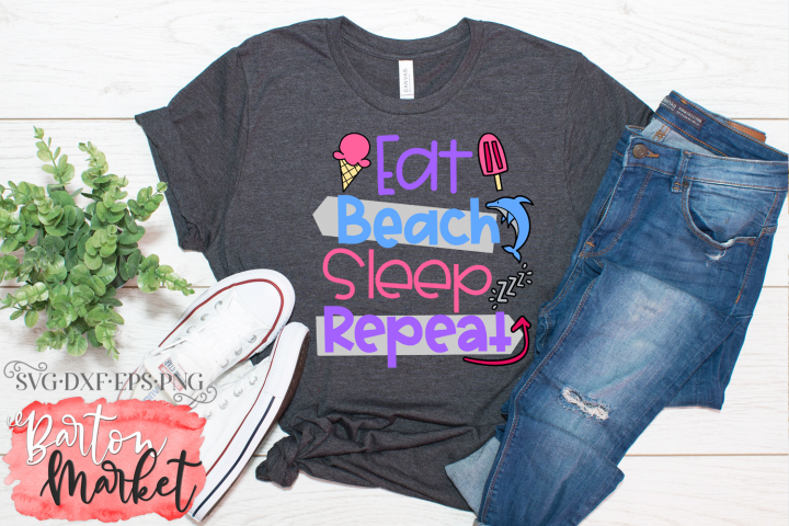 Eat Beach Sleep Repeat SVG DXF EPS PNG
