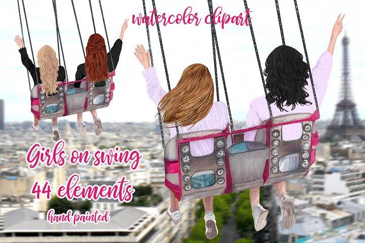 Best Friends Clipart, Girls on swing, Girls trip clipart