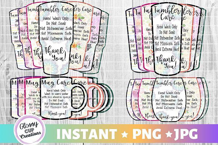 Mega Tumbler Care Card Pack, PNG, Print and Cut, 7 Designs!