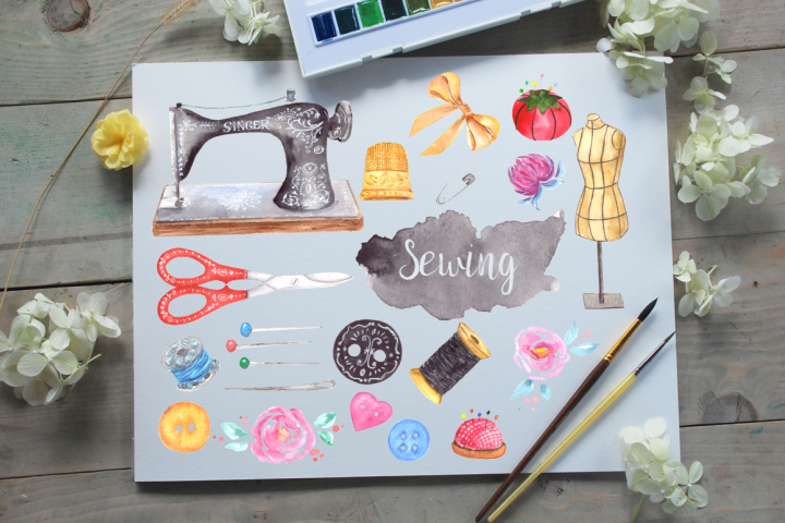 Watercolor Sewing Clip Art Set