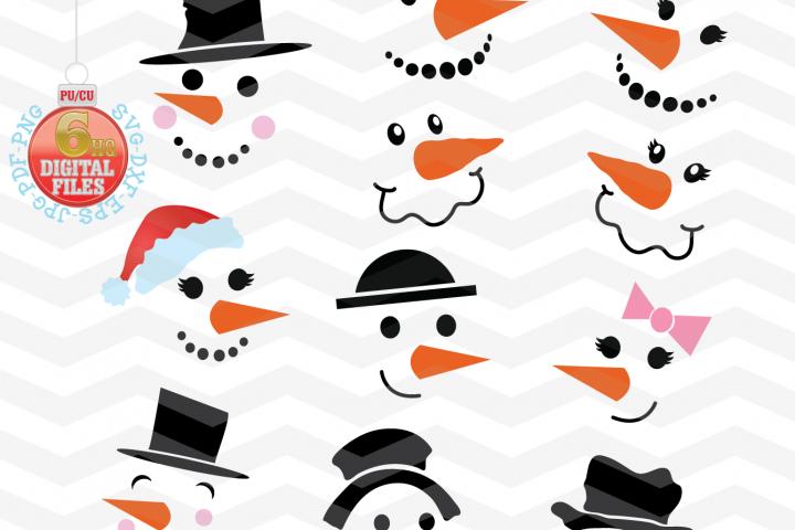 Snowman Svg - Snowman Faces SVG - Christmas SVG - Snow SVG