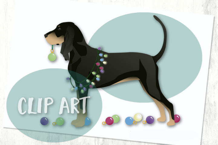 Black and Tan Coonhound Christmas Clip Art