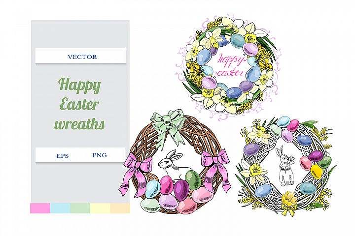 Hand drawn color sketch of easter wreaths. Botanical vector.