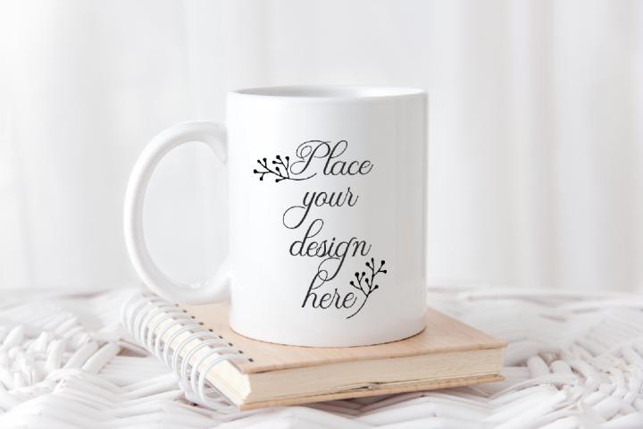 Coffee 11oz mug mock up back to shcool mock up stock photo