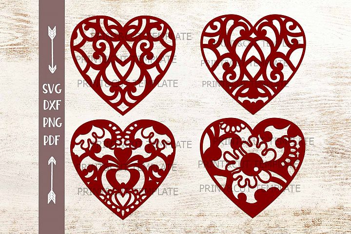 Floral Swirls Patterned Hearts bundle laser cut papercut svg