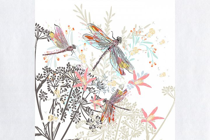 Fashion vector illustration with flowers and dragonflies