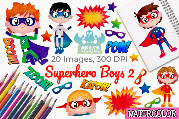 Superhero Boys 2 Watercolor Clipart, Instant Download