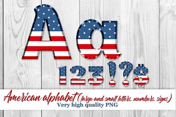 American Flag alphabet clipart Digital alphabet