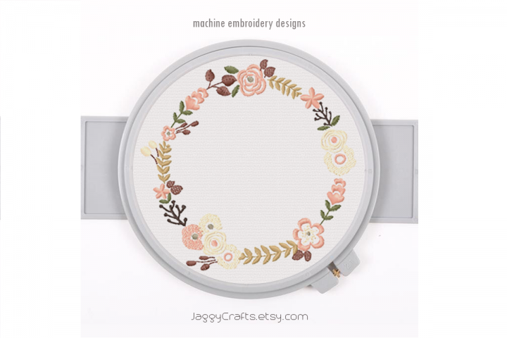 Small Floral Wreath for Monogram Frame Embroidery Design